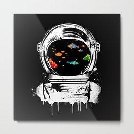 Astronaut helmet aquarium Metal Print