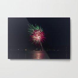 Fireworks Over Lake 20 Metal Print