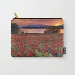 """Sea of poppies"". Sunset at the lake Carry-All Pouch"
