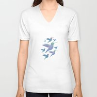 wings V-neck T-shirts featuring Wings by sandesign