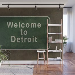 Welcome to Detroit highway road side sign Wall Mural