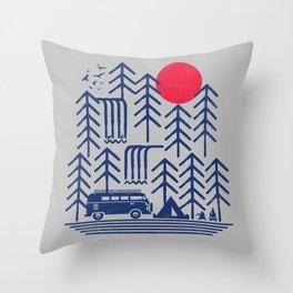 Camping Days / Van nature minimal birds sun Throw Pillow