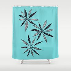 Elegant Thin Flowers With Dots And Swirls Shower Curtain
