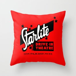 Starlite Drive In Red Throw Pillow