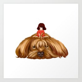 The Big Dog and the Little Girl. Art Print