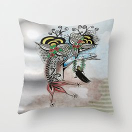 The Swing Colorful Ink drawing Art by Saribelle Throw Pillow