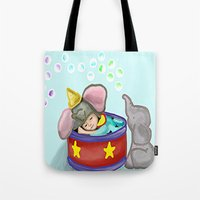 baby elephant Tote Bags featuring Baby Elephant  by grapeloverarts