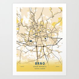 Brno Yellow City Map Art Print