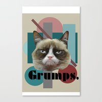 game grumps Canvas Prints featuring Grumps the cat by Noisy Nora