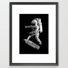 Kickflip in space Framed Art Print