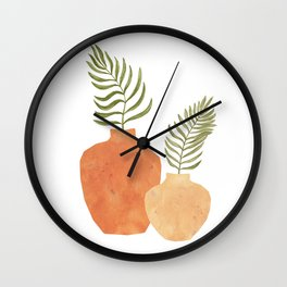 Terracotta vases and plants Wall Clock