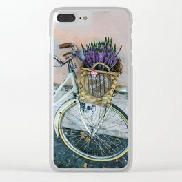 Sognare: Dream BIG Lavender Bicycle Clear iPhone Case