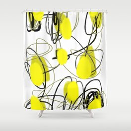 Yellow Dot Abstract Shower Curtain