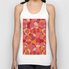 Circles in red Unisex Tank Top