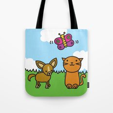 Butterfly, Cat and Dog Tote Bag
