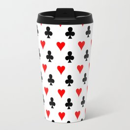 curly heart card red black gambling game player Travel Mug