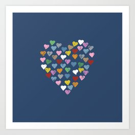 Distressed Hearts Heart Navy Art Print