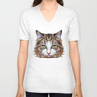 meow V-neck T-shirts featuring MEOW by Ancello