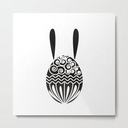 Monochrome White on Black Bunny Metal Print