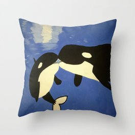 Mother and Child Whales Throw Pillow