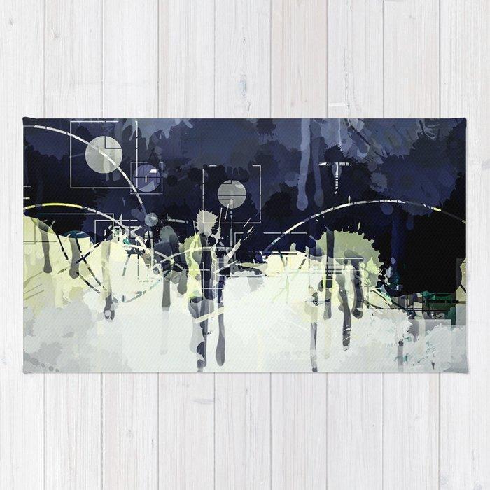 Modern Indigo Eclipse Abstract Design Rug by artaddiction45