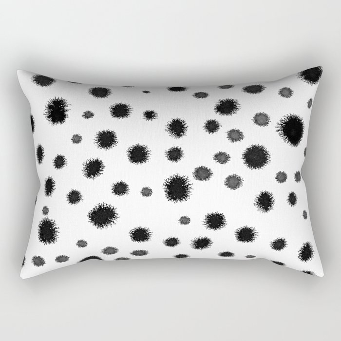 Ink drops splats splots inky texture painting abstract black and white minimal modern dorm college  Rectangular Pillow