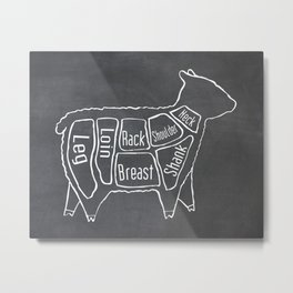 Lamb Butcher Diagram (Sheep Meat Chart) Metal Print