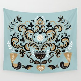 Scandinavian Winter Celebration With Birds Wall Tapestry
