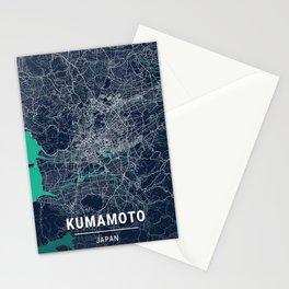 Kumamoto Blue Dark Color City Map Stationery Cards