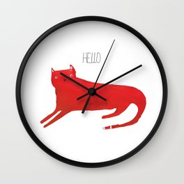 Hello red cat Wall Clock