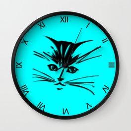 Aqua Kitty Cat Face Wall Clock