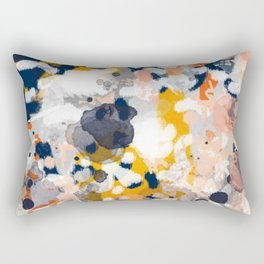 Stella II - Abstract painting in modern fresh colors navy, orange, pink, cream, white, and gold Rectangular Pillow