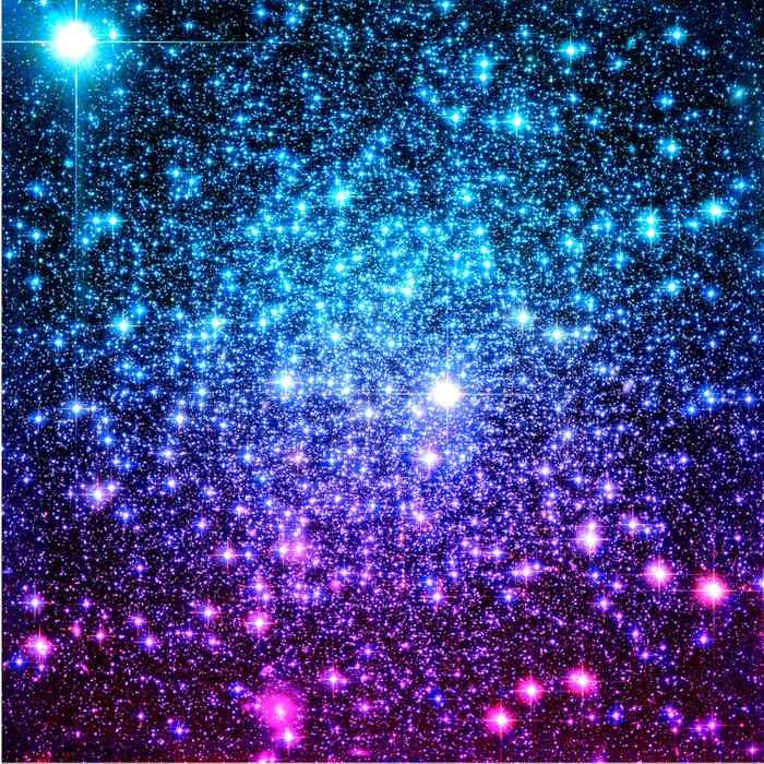 Glitter Galaxy Stars : Turquoise Blue Purple Hot Pink Ombre Duvet Cover