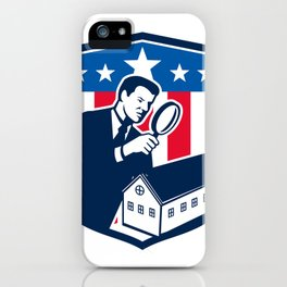 American School Inspector  USA Flag Icon Retro iPhone Case
