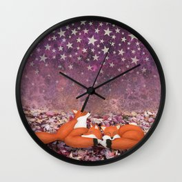 foxes under the stars Wall Clock