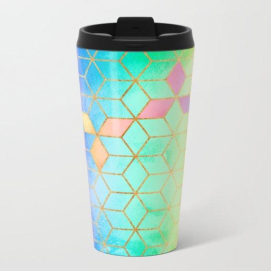 Rainbow Cubes Metal Travel Mug