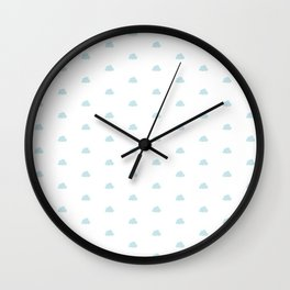 Baby blue small clouds pattern Wall Clock