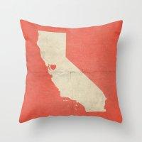 san francisco map Throw Pillows featuring San Francisco by Fercute