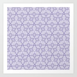 Lavender and White Geometric CubedPattern Art Print
