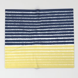 Gold and Navy Blue brush Strokes Throw Blanket