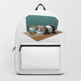 Cartoon Panda Bear Eating Noodles Backpack