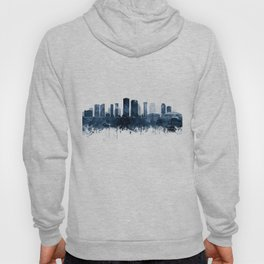 New Orleans Skyline Blue Watercolor Print by Zouzounio Art Hoody