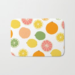 Orange Grapefruit Lemon Lime Citrus Pattern Bath Mat