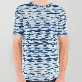 Glitch Waves - Classic Blue All Over Graphic Tee