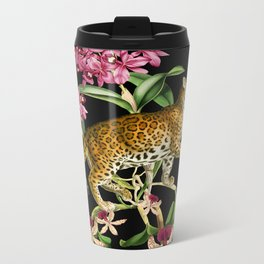 Leopard black Metal Travel Mug