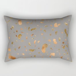 Elegant gray terrazzo with gold and copper spots Rectangular Pillow