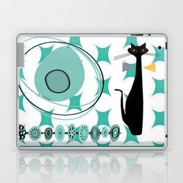 Mid-Century Modern Atomic Art - Teal - Cat Laptop & iPad Skin