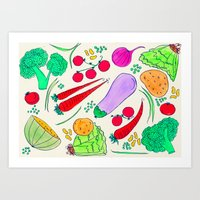 vegetables Art Prints featuring Vegetables! by Niche Drawings