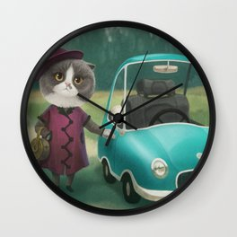 Where are you going kitty? Wall Clock