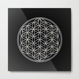 Flower of Life and Star of David Metal Print